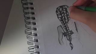 Dawing a braid with pencil,