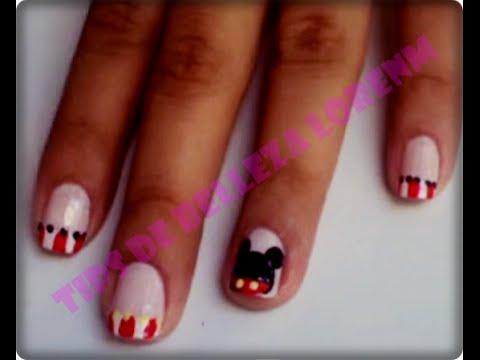 Diy Uñas Decoradas De Minnie Mouse Nails Minnie Mouse Youtube