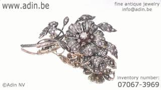 Huge Victorian rose cut diamond flower brooch (07067-3969)