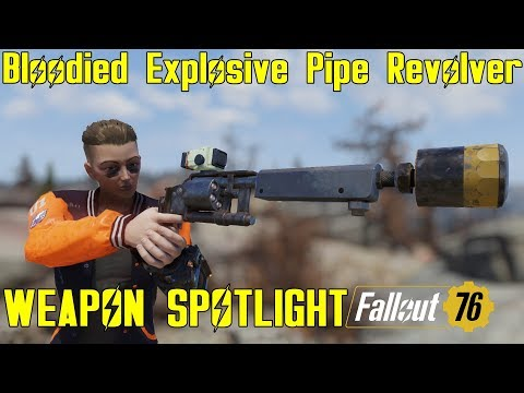 Fallout 76: Weapon Spotlights: Bloodied Explosive Pipe Revolver