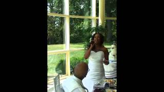 "Tamika - Bride sings ""I Believe in you and me"""