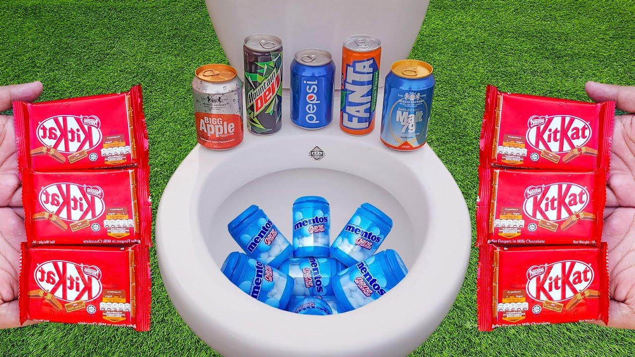 Experiment KitKat Vs Pepsi, Sprite, Fanta, Mountain Dew and Mentos in Toilet