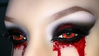 Sexy Vampire / Demon / Zombie / Witch  Smoky Eyes with Glitter - Halloween Makeup Tutorial 2015