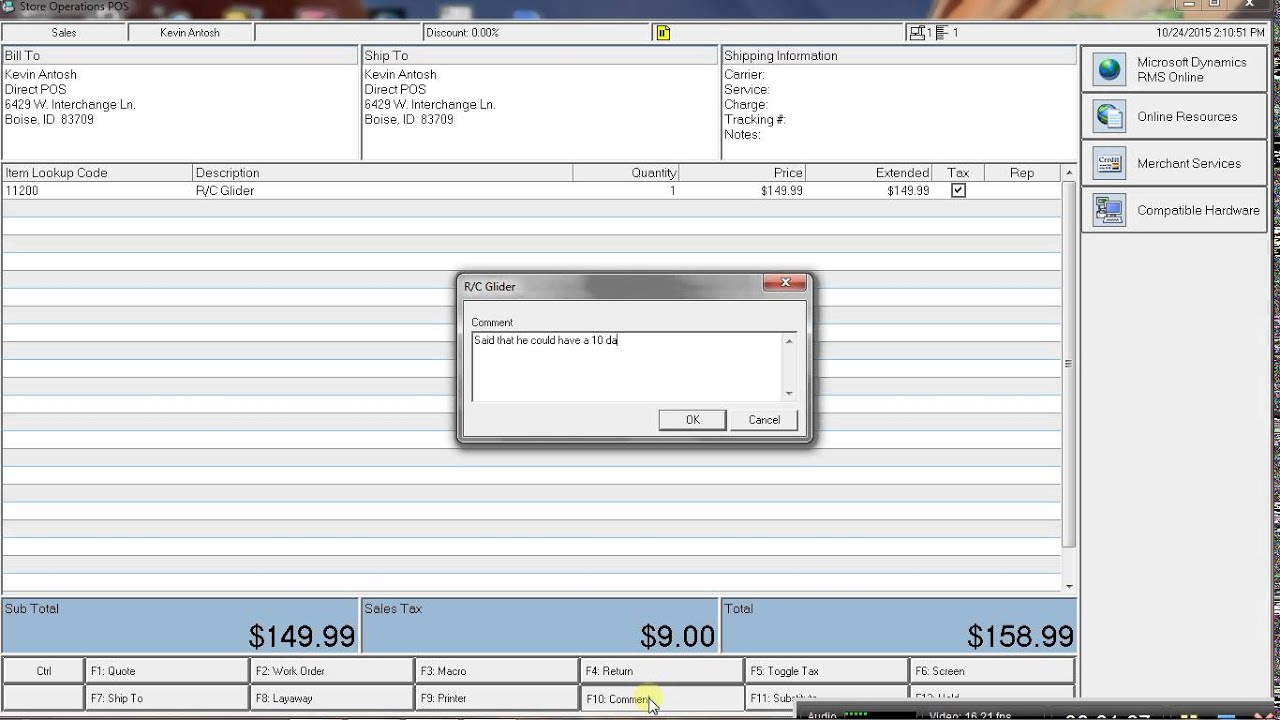 adding comments to a sales transaction in the microsoft