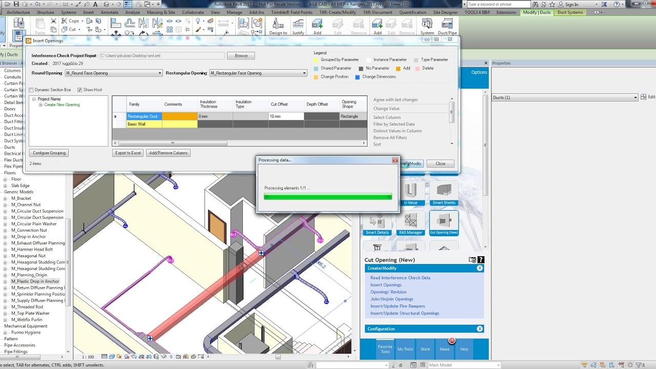 BIM Solution for automatic cutting holes in Revit model | Cut