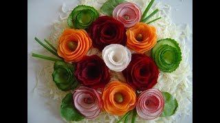 Jak szybko zrobić kwiaty z warzyw, dekoracje potraw