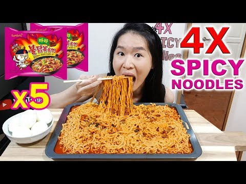 4X SPICY MALA FIRE NOODLES CHALLENGE!! 5 Packets of Samyang's Fire Ramen | Eating Show Mukbang