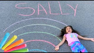 Sally learn Coloring a RAINBOW with CHALK! fun Activities for Kids and Family
