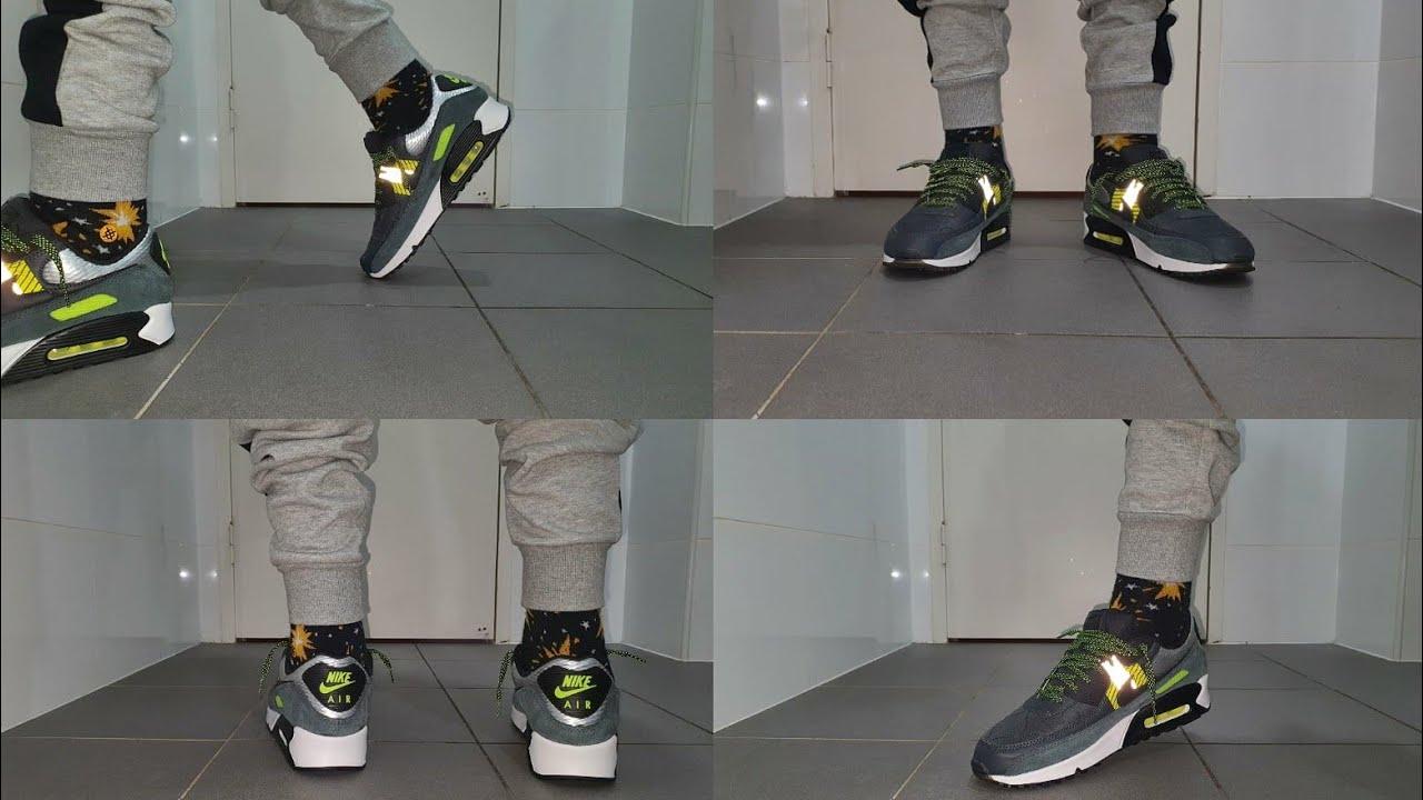 Nike Air Max 90 3M Anthracite Volt Black on feet