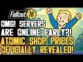 Fallout 76 - OMG! Servers Online A Day Early?! New Atomic Shop Items and Prices Revealed!