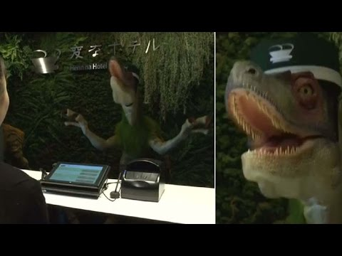 Dinosaurs manage front desk in Japan hotel