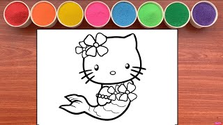 Mermaid Hello Kitty Coloring &…