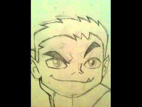 how to draw beast boy head