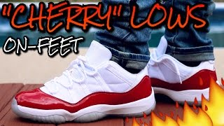 cherry air jordan 11 low w on feet review