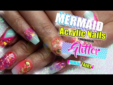Short baby coffin shape nails |holiday mermaid ombre