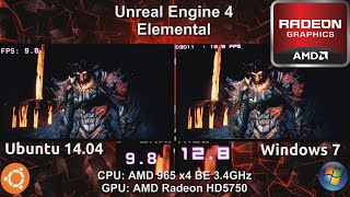 Ubuntu 14.04 VS Windows 7 : Unreal Engine 4 Elemental Demo on an AMD HD5750