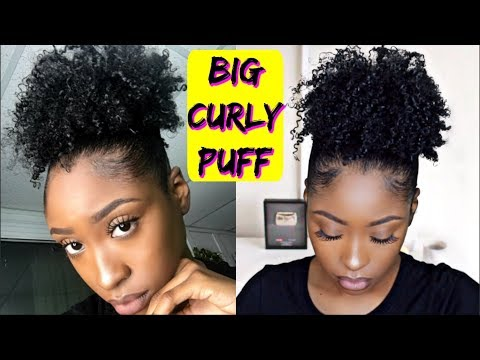 BIG Curly High Puff on Short Natural Hair | Super Defined!