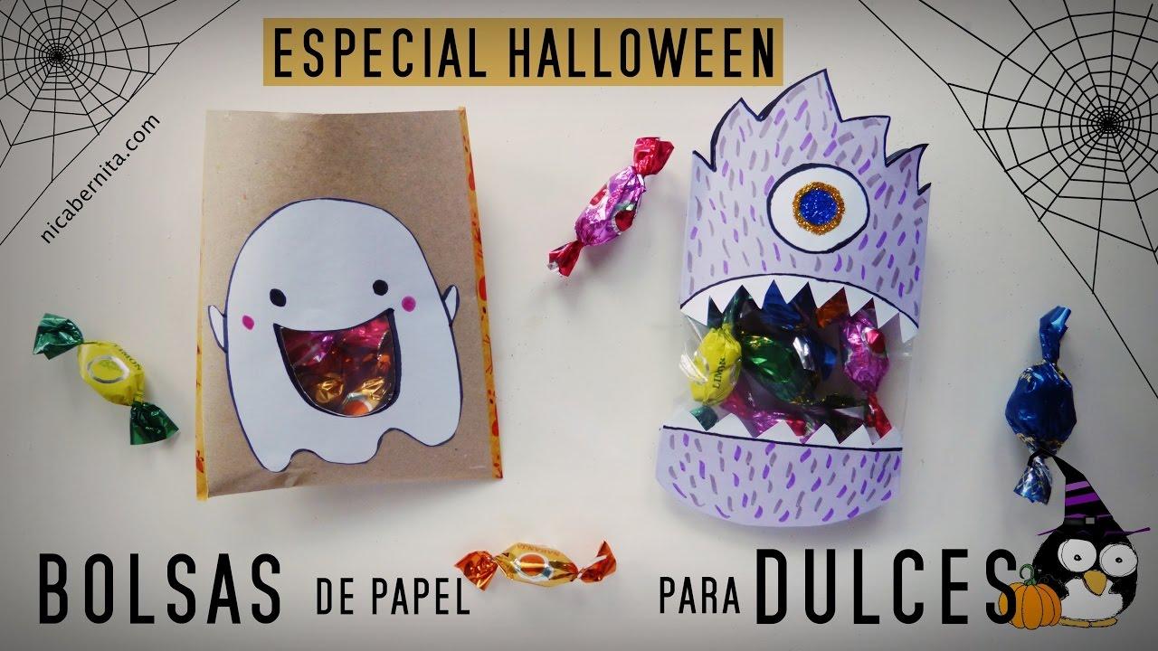 C mo hacer bolsas de papel para dulces manualidades - Manualidades halloween faciles para ninos ...