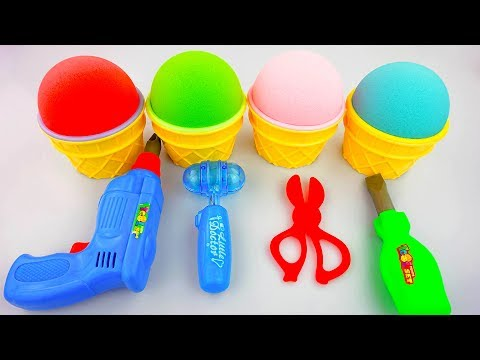 Thumbnail: Learn Colors Kinetic Sand Ice Cream Surprise Tools Surprise Toys Fun for Childrens