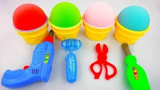 Learn Colors Kinetic Sand Ice Cream Surprise Tools Surprise Toys Fun for Childrens
