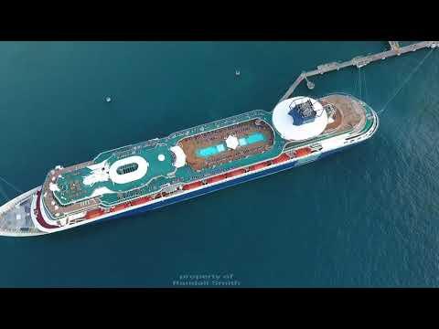 Ochi Rios Jamaica cruise ship pier drone foootage