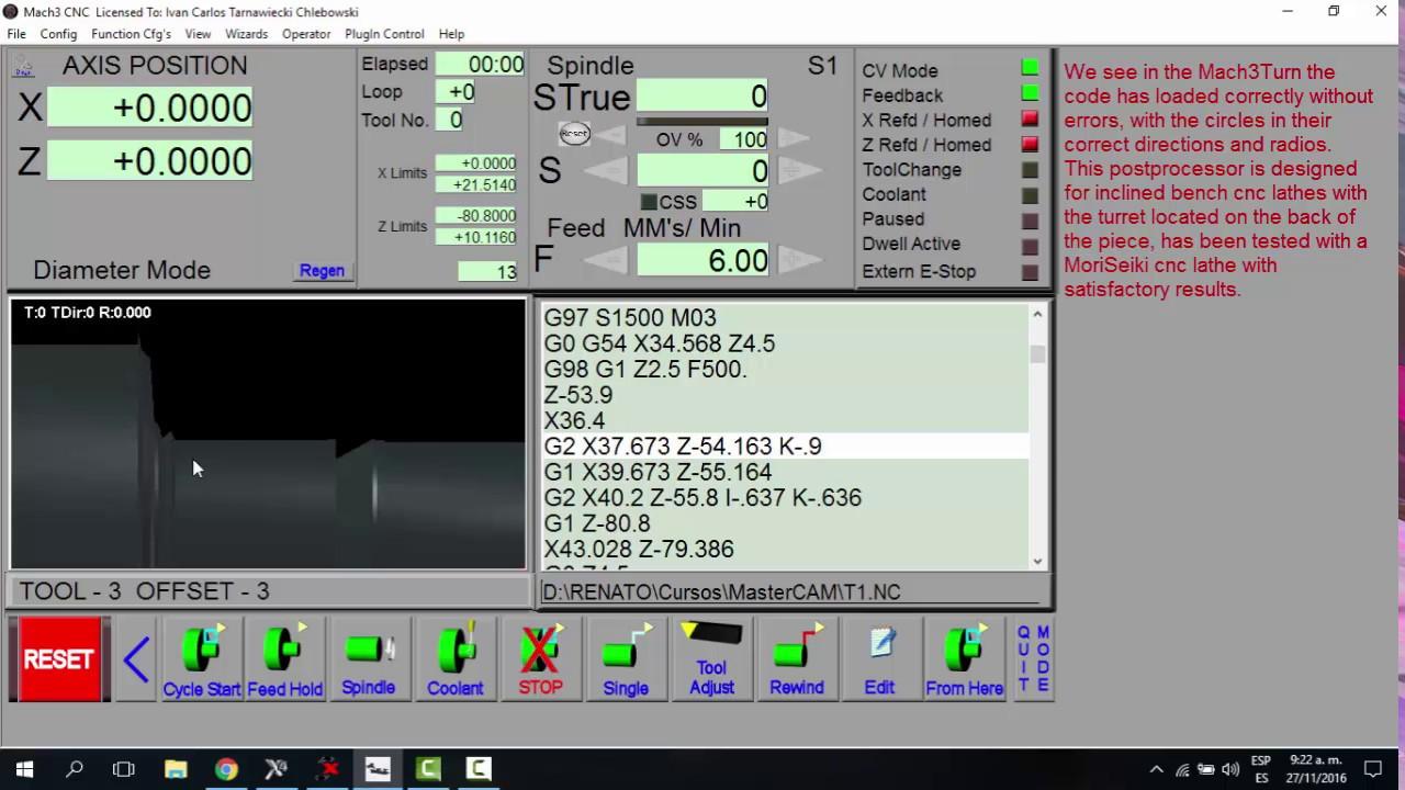 Mach3 Turn post processor for MasterCAM