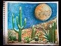 February Full Moon Gouache Painting - Snow Super Moon