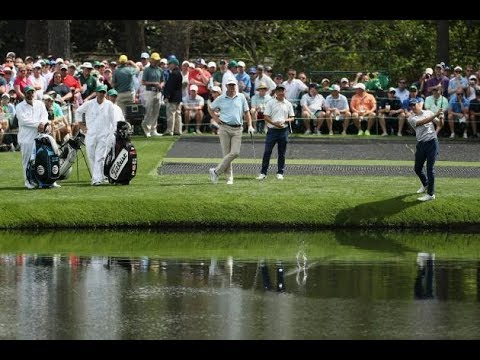 Jordan Spieth skips the ball across the water on the 16th hole at Augusta