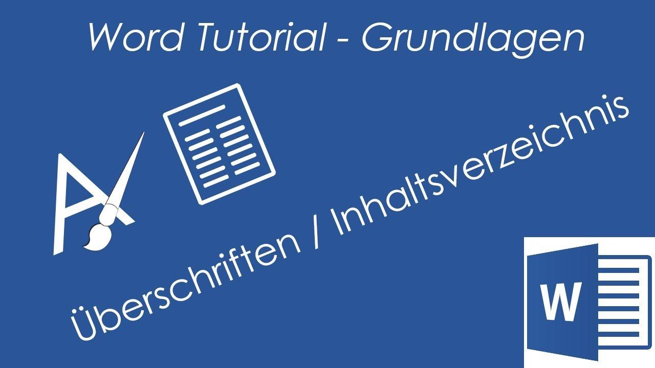 Tutorial word 2016 berschriften automatisches inhaltsverzeichnis gliederung etc
