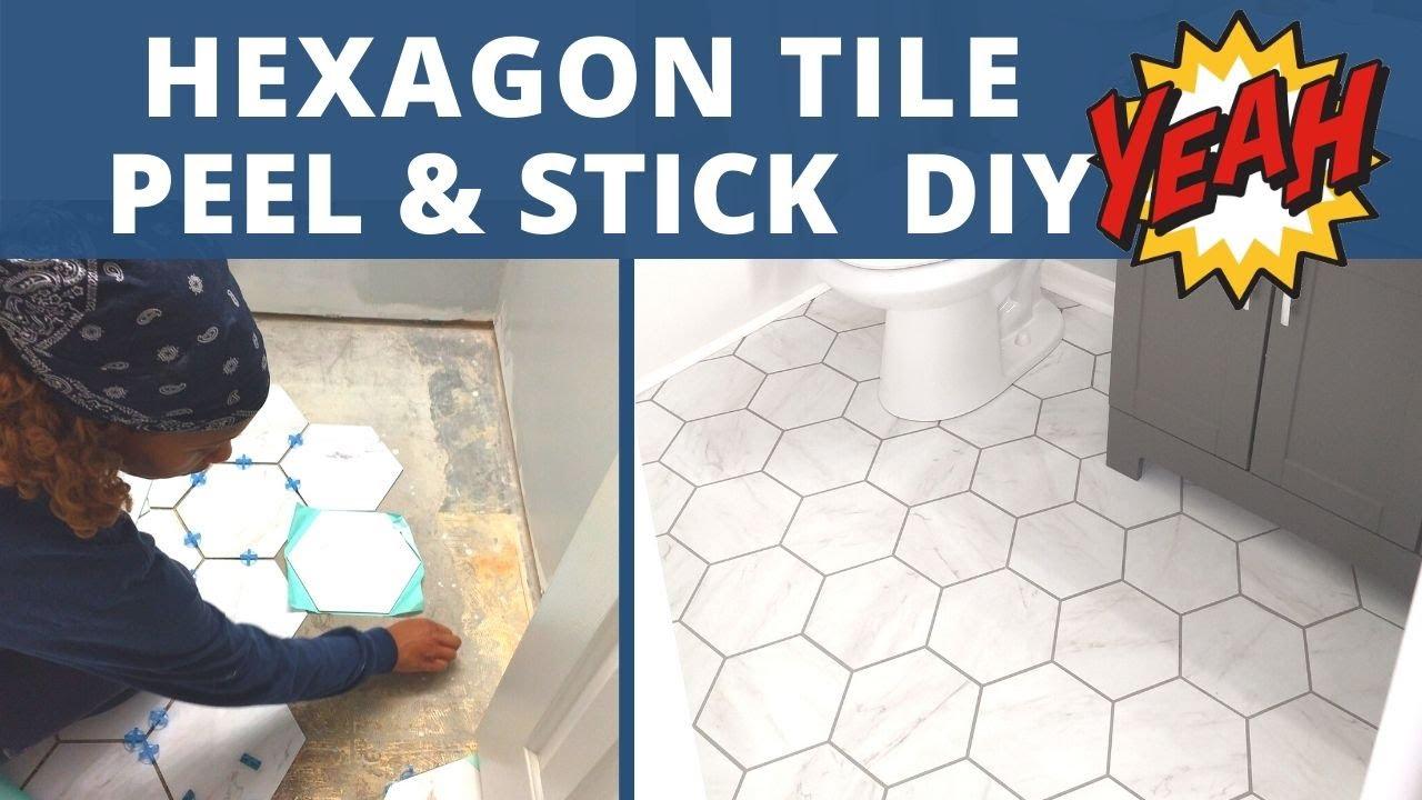 hexagon luxury vinyl extreme makeover peel and stick diy 7 75 x 9 stainmaster