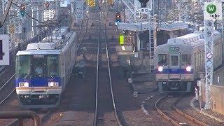 南海10000系特急「サザン」&高野線6200系 複々線並走シーン 新今宮駅