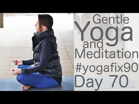 33 Minute Yoga Gentle Flow, Breathe and Meditate Day 70 Yoga Fix 90 with Fightmaster Yoga