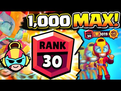 THIS TOOK 18+ HOURS... 1000 MAX IN BRAWL BALL! RANK 30 MAX GAMEPLAY IN BRAWL STARS!
