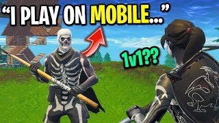 The worlds best MOBILE Fortnite player wants to 1v1 me on PC... (HE HAS 700 WINS)