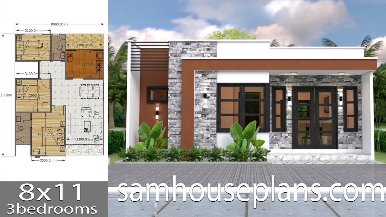 House Plans 8x11 With 3 Bedrooms Full Plans