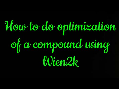 How to optimize a compound Using Wien2k || Volume energy optimization ||
