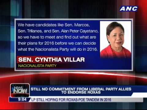Still no commitment from LP allies to endorse Roxas