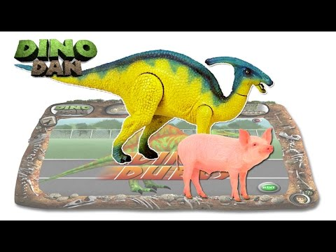DINO DAN : DINO DUELS #33 -  Parasaurolophus VS Pig  # Make For Kids