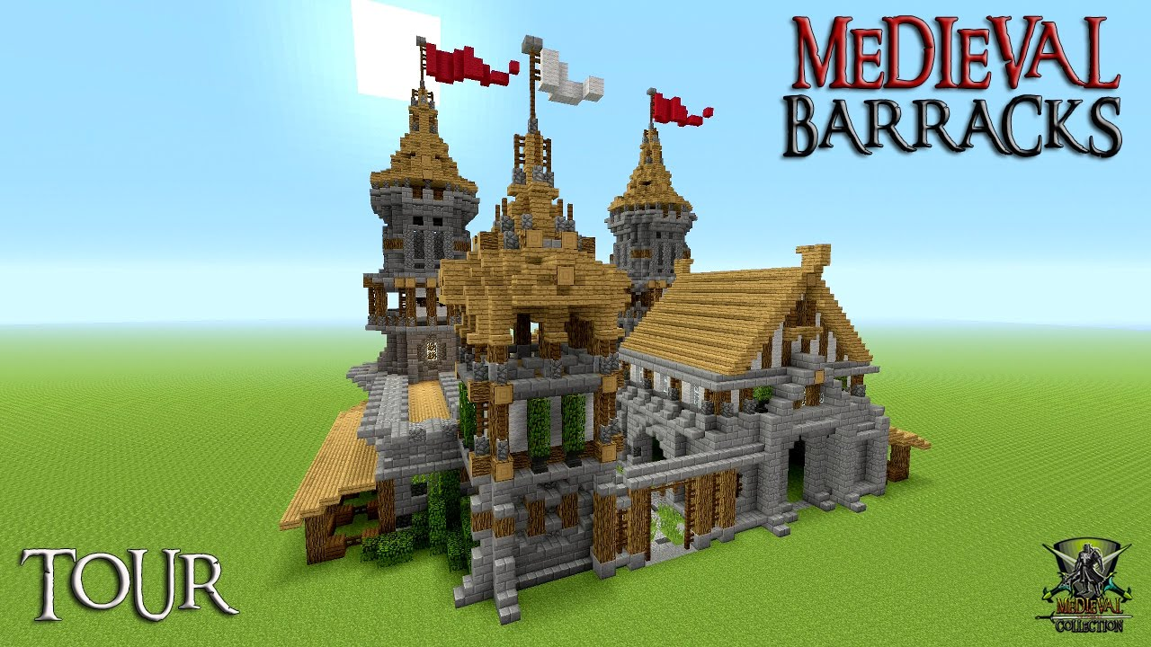 Minecraft how to build a castle barracks tutorial for Build a castle house