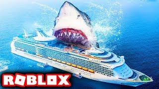 SURVIVING JAWS SHARK ATTACK IN ROBLOX 2 PLAYER!!! (Roblox SharkBite)