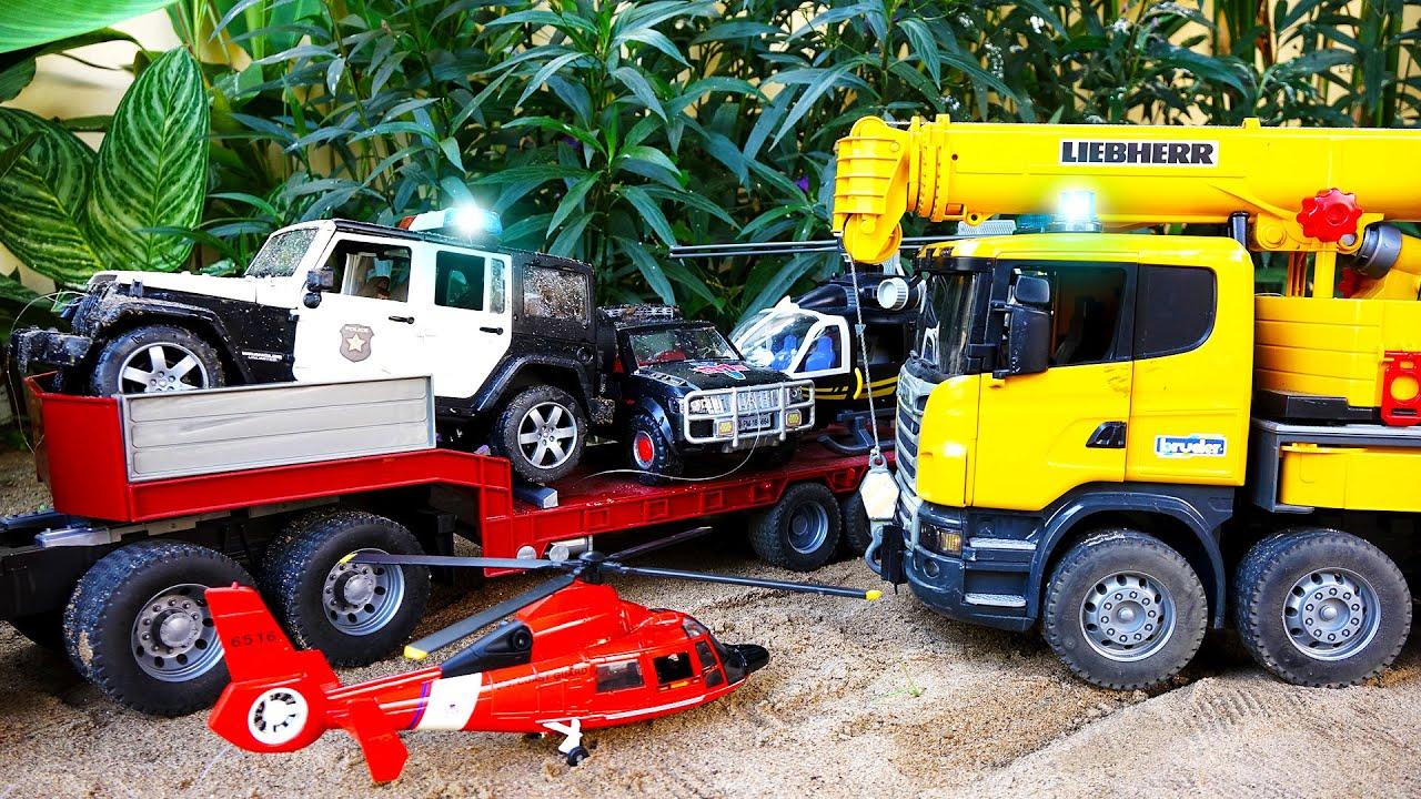 경찰차 구출놀이 포크레인 중장비 트럭 장난감 놀이 Police Car Toy Rescue