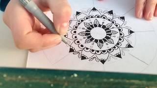 ارسم مانديلا معي خطوة بخطوة للمبتدئين / draw with me mandala step by step for begginers /first part