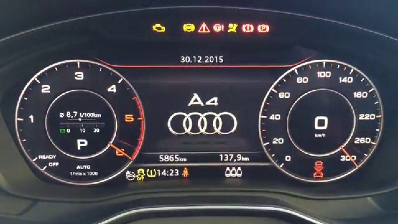 Audi A4 8W - Zeigertest, Zeigerinszenierung, Needle Sweep / Staging bei  Virtual Cockpit aktiviert