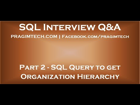 Part 2 SQL query to get organization hierarchy