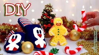 DIY Christmas Gifts – DIY Candy Cane Candle, Penguin Slippers and Gingerbread Man Bath Sponge