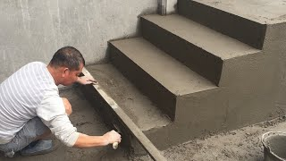 Building Porch Step - Rendering Sand and Cement For Brick Steps