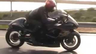 Suzuki Hayabusa Slash Cut Exhaust sound in motion 1