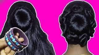 Hair Styles Bun Koppu - Messy 5 Minutes updo (Prom/Homecoming) Bangle Hairstyle For Party Wedding