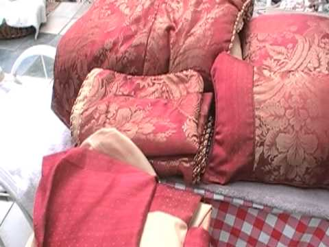 Queen size red and gold comforter set