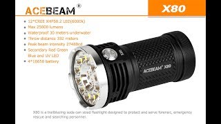 Acebeam X80 25,000 Lumen Flashlight Unboxing and Review With Beam Shots